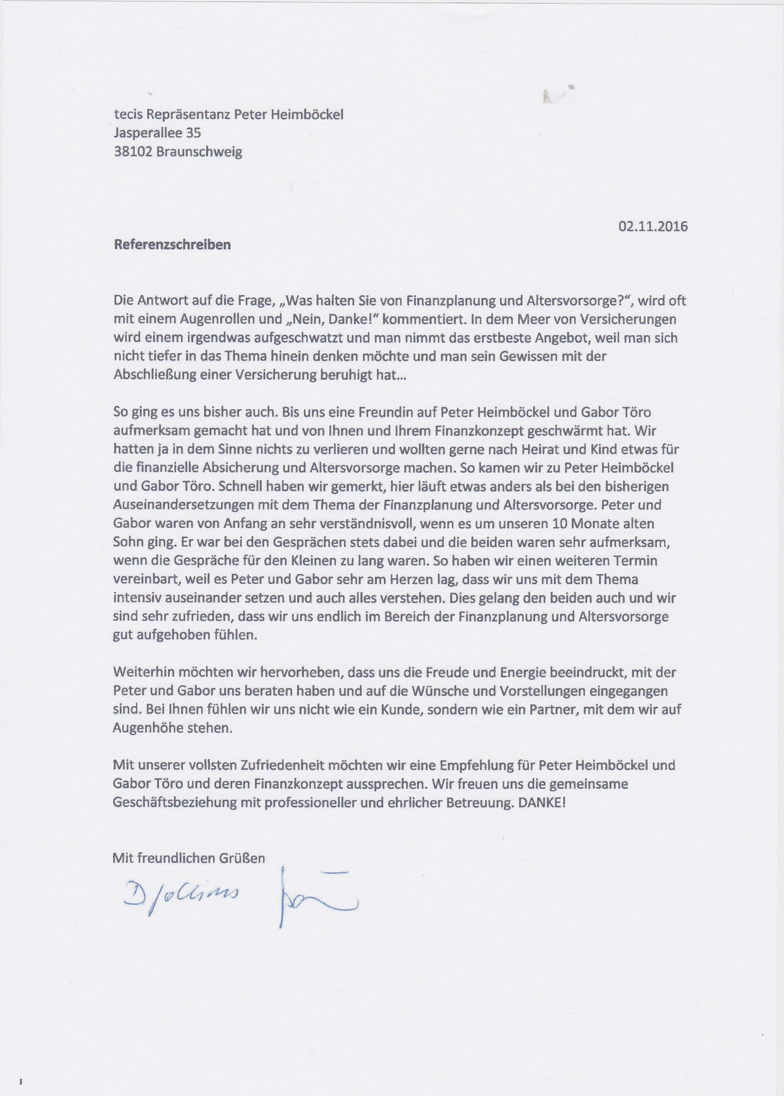 Referenz und Empfehlungsschreiben von Familie Jochims - werte.coach