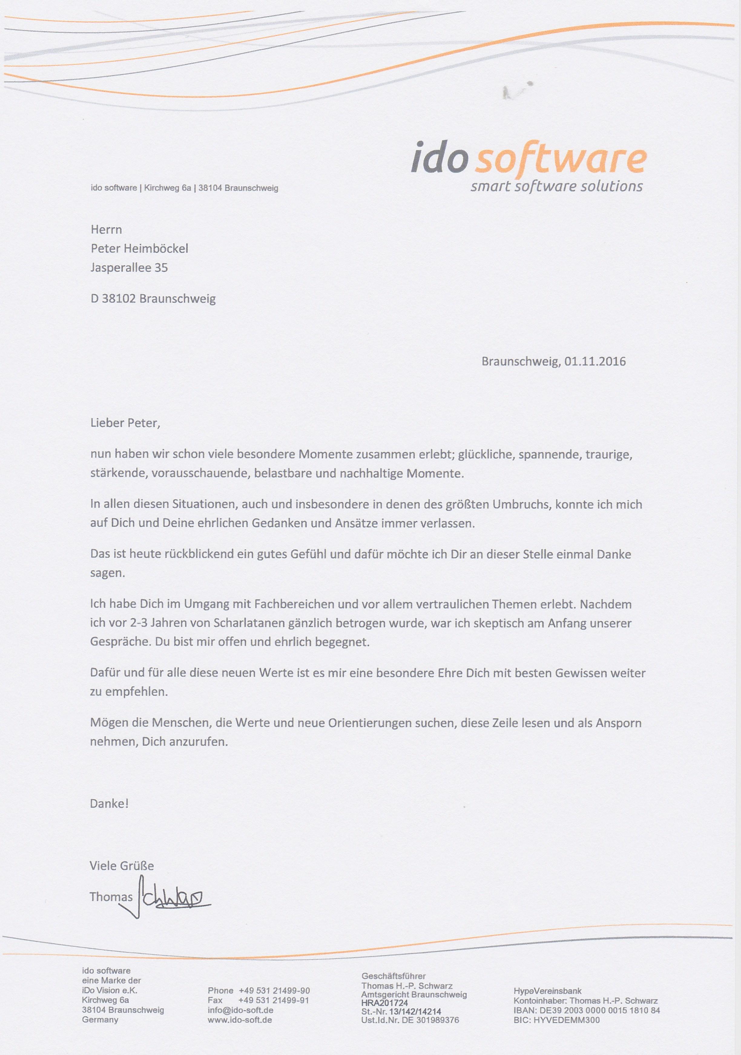 Referenz und Empfehlungsschreiben von Thomas Schwarz - ido software ...